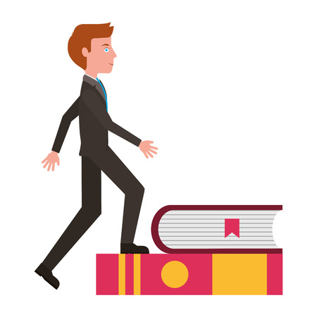 businessman climb with books avatar character vector illustration design Illustration