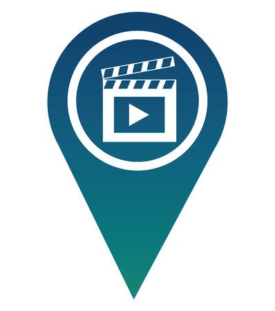 pin pointer location with clapper board icon vector illustration design