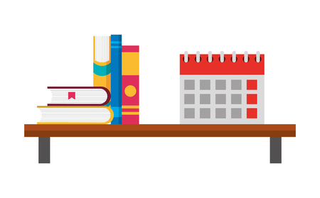 shelf with books and calendar reminder vector illustration design Illustration