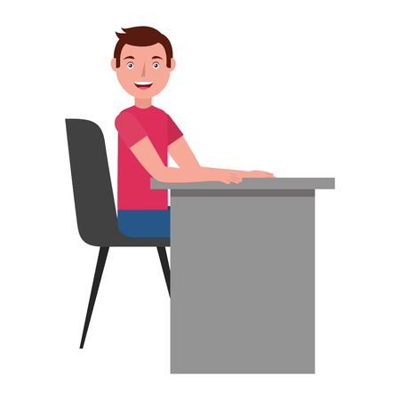 man witn office chair and desk isolatad icon vector illustration design