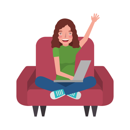 woman with laptop in the sofa character vector illustration design Foto de archivo - 100832207