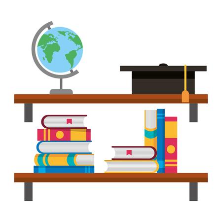 shelf with books and hat graduation vector illustration design
