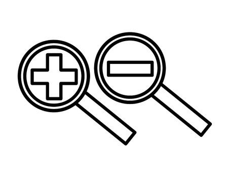 Rechercher des loupes avec signe plus et moins conception d'illustration vectorielle