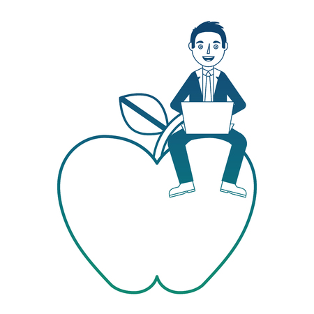Fresh apple fruit with man and laptop