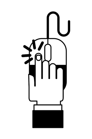 Hand with mouse device Illustration