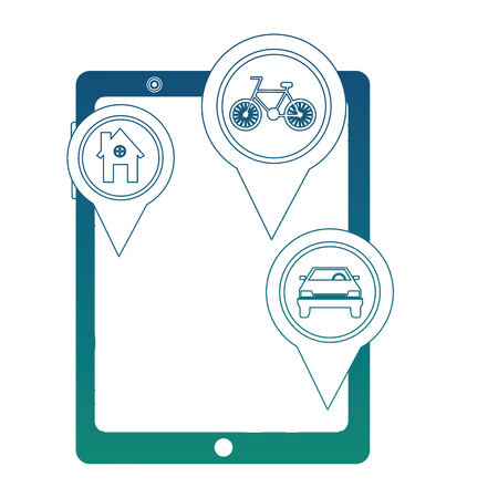 tablet with gps application and important places vector illustration design