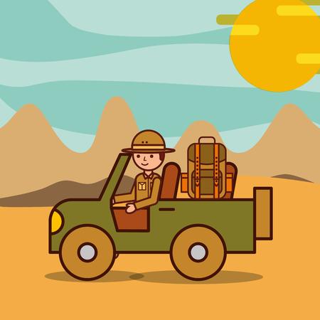 Man explorer driving jeep in desert