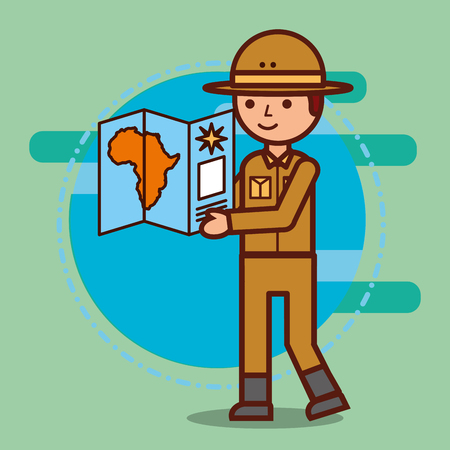 safari boy looking african map vector illustration Reklamní fotografie - 100835244