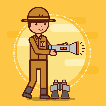 safari boy lantern and binoculars vector illustration 版權商用圖片 - 100835245