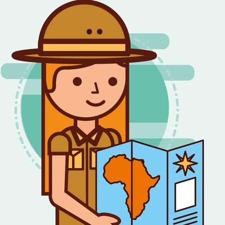safari girl explorer looking african map travel vector illustration
