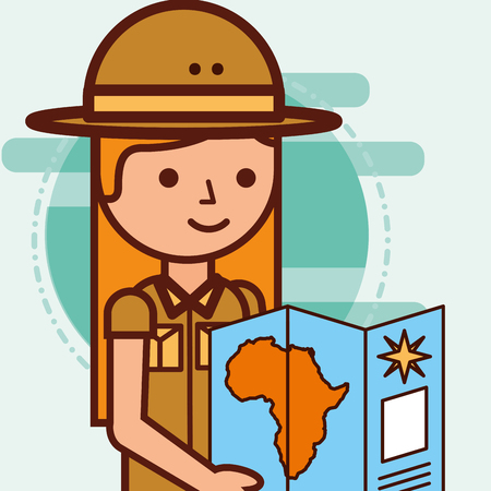 safari girl explorer looking african map travel vector illustration