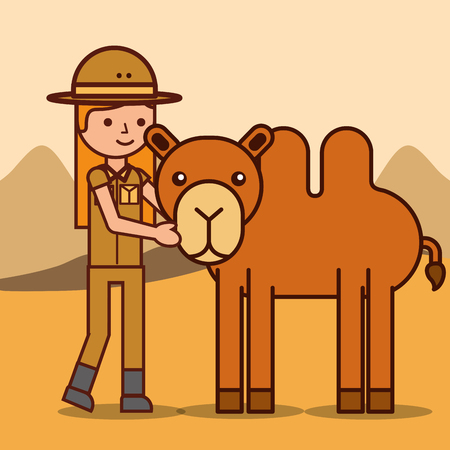 safari girl explorer with camel animal african vector illustration