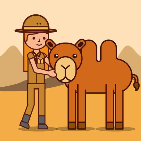 safari girl explorer with camel animal african vector illustration