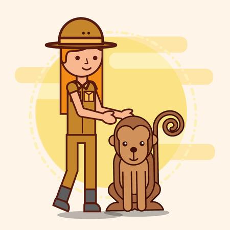 safari girl looking monkey african vector illustration
