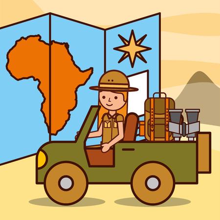 safari girl driving with map rucksack and binoculars vector illustration Illustration