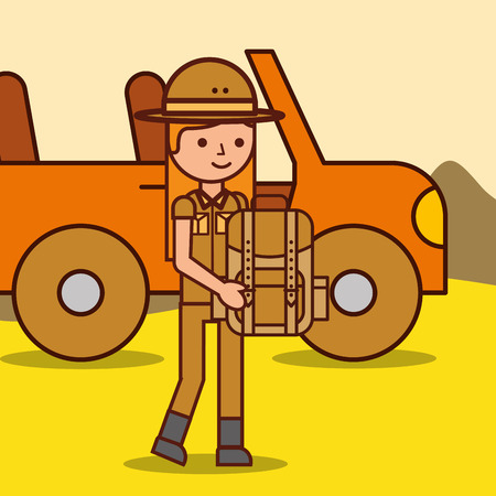 happy girl explorer safari rucksack and jeep car vector illustration