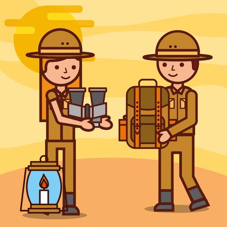 safari girl and boy explorer holding backpack binoculars and lantern vector illustration  イラスト・ベクター素材