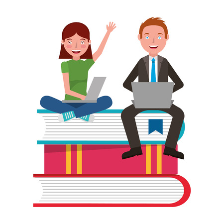 people with text books pile and laptop computer vector illustration design Ilustrace