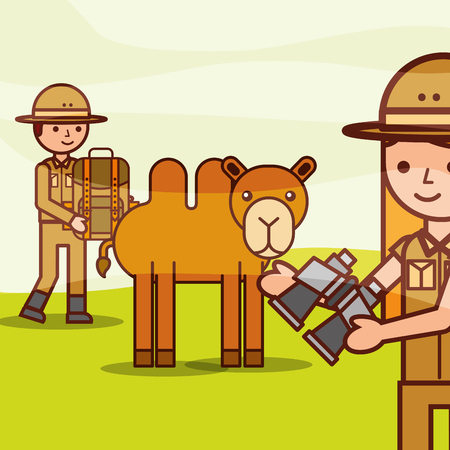 safari girl and boy holds binoculars backpack with camel vector illustration