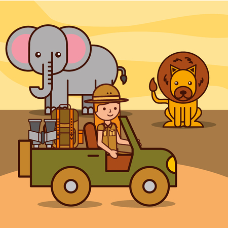 safari girl explorer driving jeep watching lion and elephant african vector illustration
