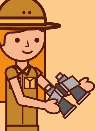 portrait safari girl explorer holds binoculars vector illustration Illustration