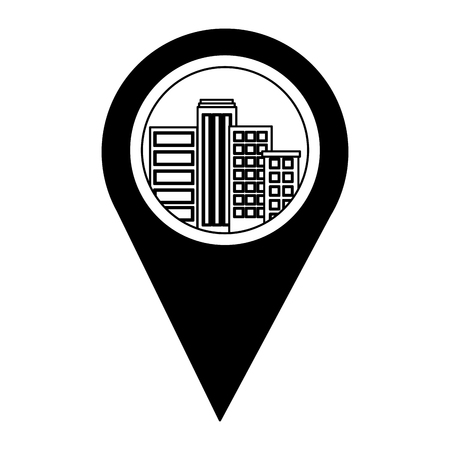 pin pointer location with building cityscape scene vector illustration design 版權商用圖片 - 100836642