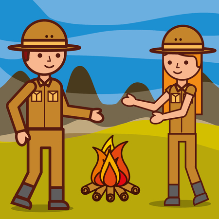 safari girl and boy explorer with campfire in africa vector illustration Vettoriali