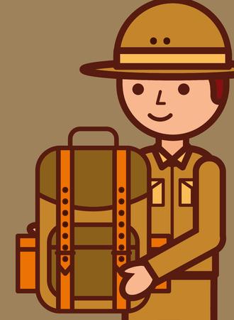 portrait safari boy explorer holding backpack vector illustration