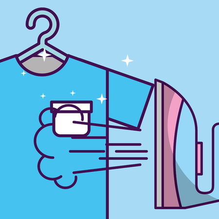laundry cleaning steaming ironing on t-shirt vector illustration