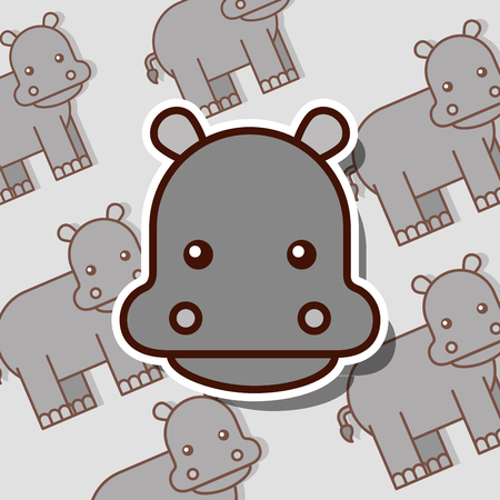 hippo safari animal african pattern vector illustration