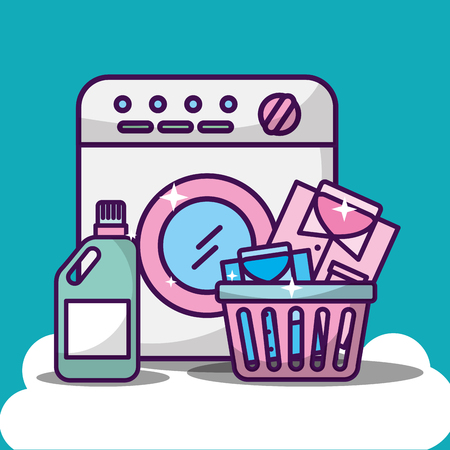 laundry cleaning washing machine basket with shirts and bottle detergent vector illustration