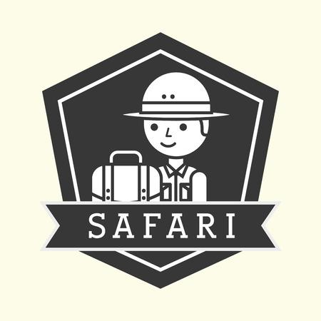 Safari boy explorer with rucksack emblem vector illustration Illustration