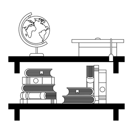 shelf with books and hat graduation vector illustration design