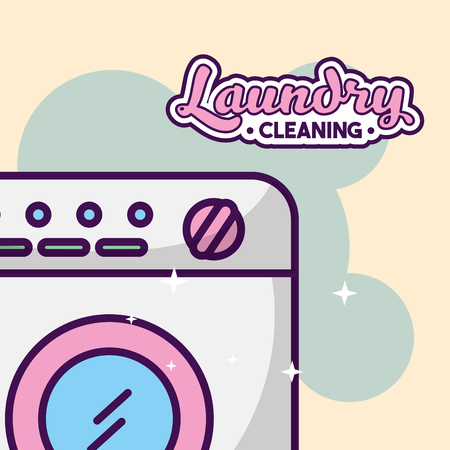 Laundry cleaning washing machine bubbles vector illustration
