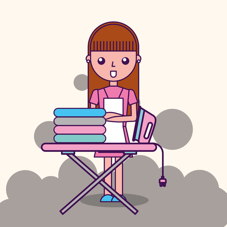 laundry cleaner girl cartoon ironing board vector illustration Banco de Imagens - 100950024