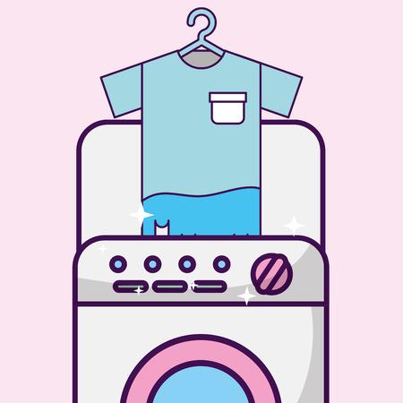 laundry cleaning t-shirt in washing machine vector illustration Illusztráció