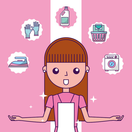 laundry cleaner girl cartoon equipment and supplies vector illustration Illustration