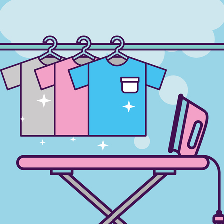 Laundry cleaning hangers with t-shirt and steam iron on board vector illustration Illusztráció