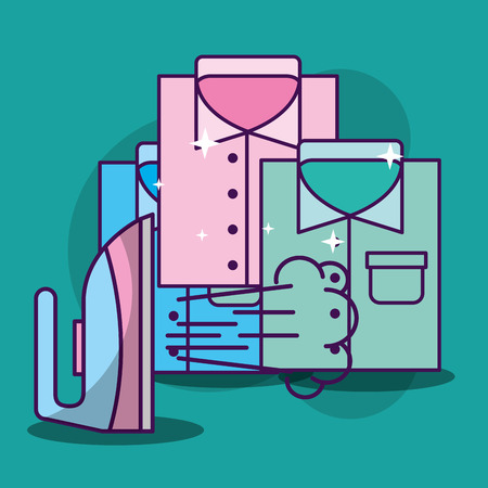 Laundry cleaning steaming ironing shirts vector illustration Illustration