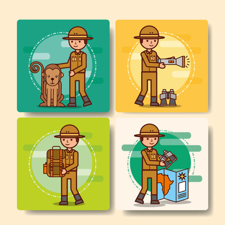 safari boy explorer set with monkey map lantern backpack vector illustration Stock Vector - 100838373