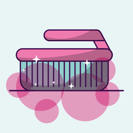 Laundry cleaning brush supply bubbles image vector illustration