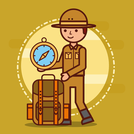 Male explorer backpack and compass vector illustration