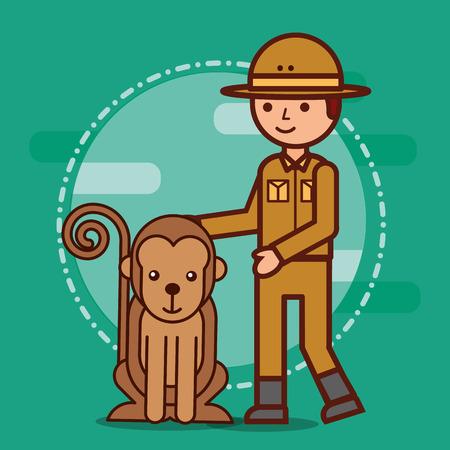 Male explorer and monkey animal vector illustration Ilustrace