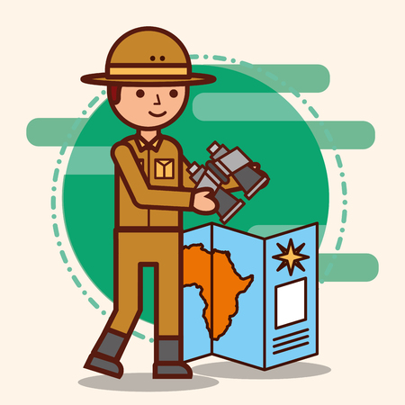safari boy explorer with african map and binoculars vector illustration Illustration