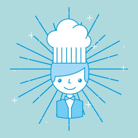 Hotel waiter man worker employee service cartoon vector illustration