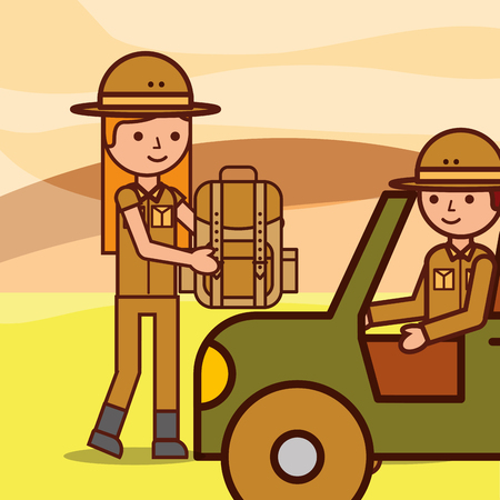 safari girl and boy explorer in jeep with backpack vector illustration Çizim