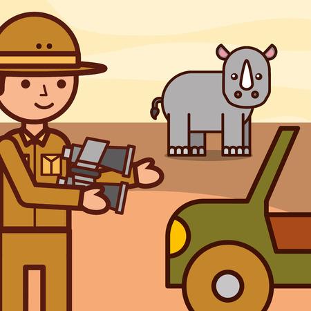 safari boy explorer with binoculars jeep and rhino vector illustration
