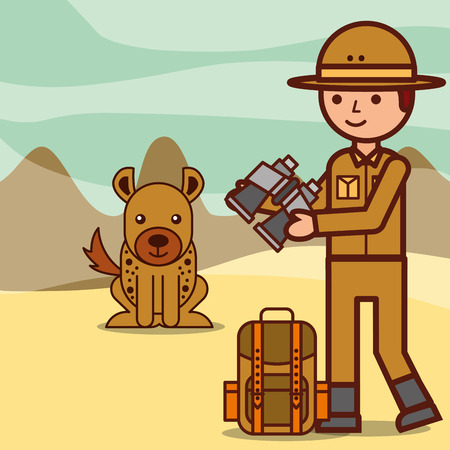 safari boy explorer holds binoclars backpack and hyena in desert vector illustration Illustration