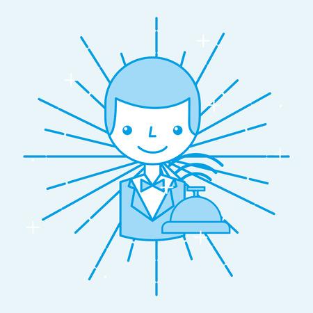 Hotel receptionist worker employee service cartoon vector illustration