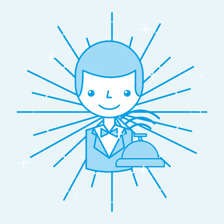 Hotel receptionist worker employee service cartoon vector illustration